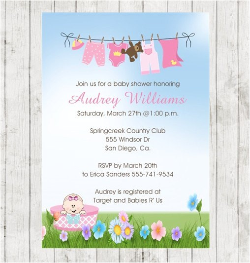 baby shower invitation pink clothline printed