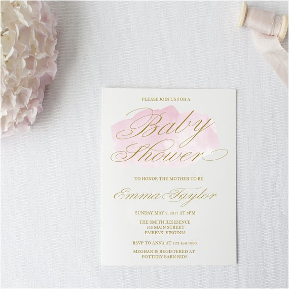 pink water color baby shower invitation