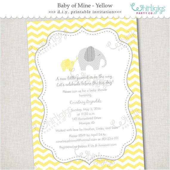 diy elephant baby shower invitation yellow
