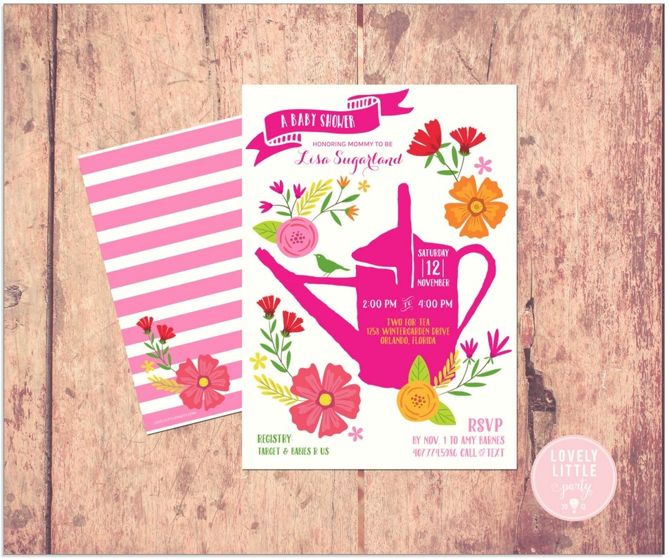 garden themed baby shower invitations