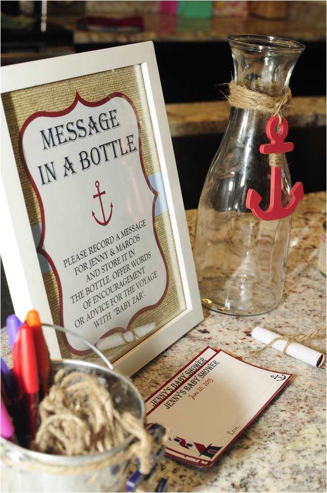 message in a bottle baby shower invitations
