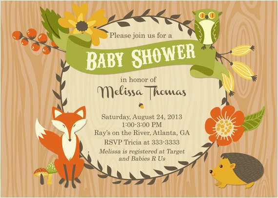 autumn woodland baby shower invitations party printables wooden background rectangular shape floral animal ppictured in honor of mellisa thomas