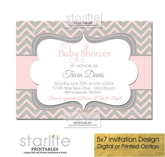 chevron baby shower invitations girl pink gray original printable printed strip background pink grey colored rectangular shape in honor of tricia davis