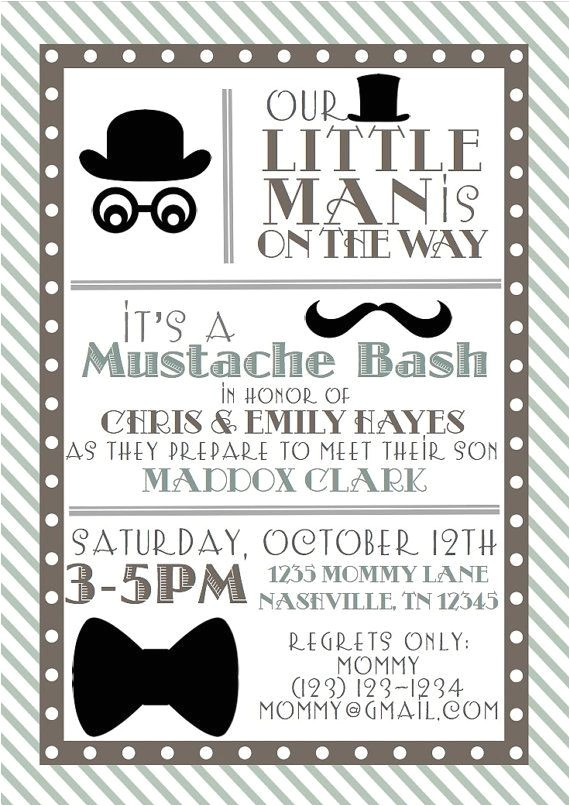 little man baby shower invitations thank you note portrait shape strip grey background its a mustache bash in honor of chris and emily hayes