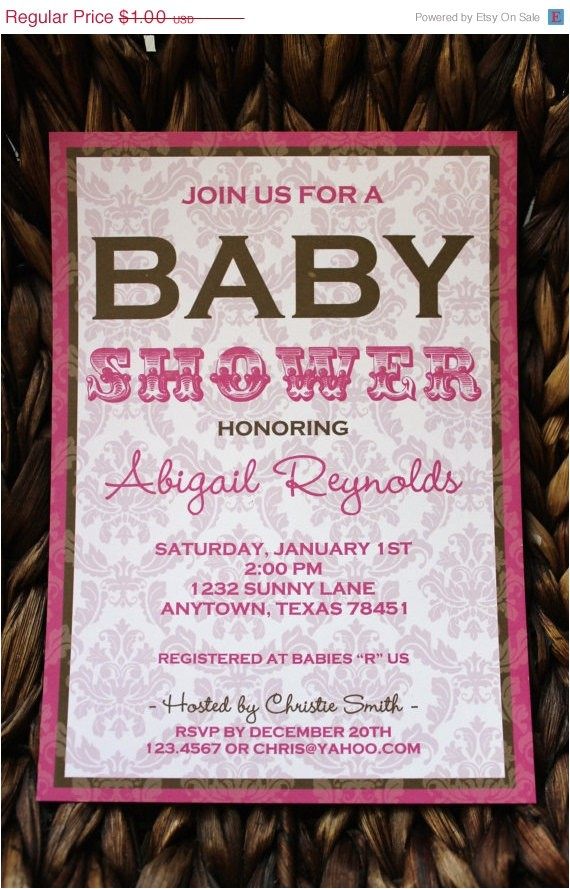 pink brown demask baby shower invitations