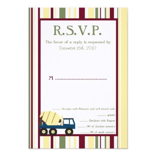 construction zone baby shower rsvp card invitation