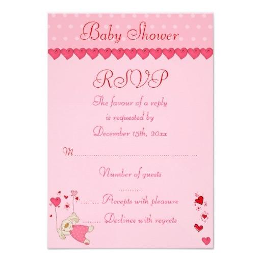 pink love heart design baby shower rsvp invitation