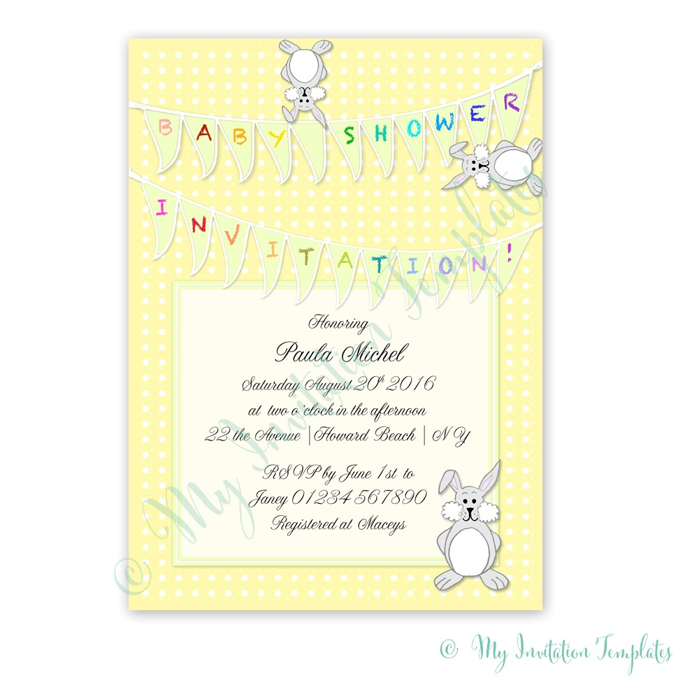 printable baby shower invitation template bunny 2