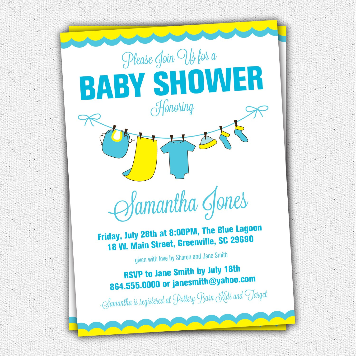 baby shower invitations yellow blue baby clothes clothesline set of 10