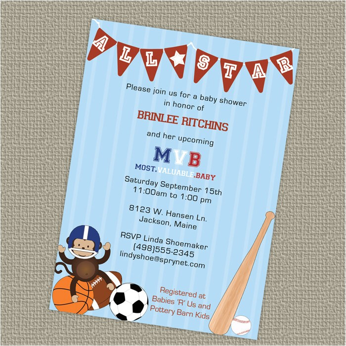 sports themed baby shower invitations tar