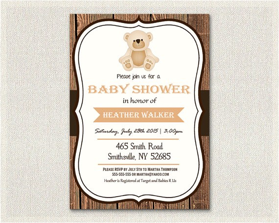 baby shower invitation teddy bear theme