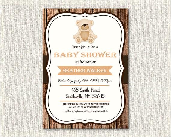 baby shower invitation teddy bear theme