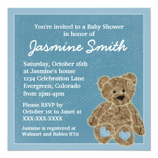 blue theme teddy bear baby shower invitations