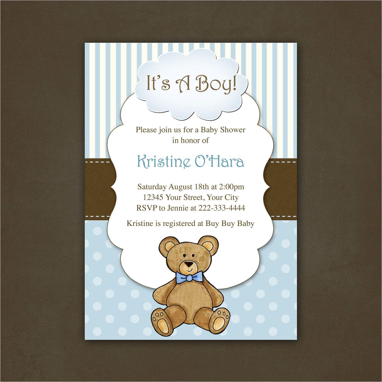 Baby Shower Invitations Teddy Bear theme Boy Teddy Bear Baby Shower Invitation Printable File $12
