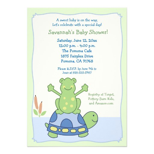 turtle theme baby shower invitations
