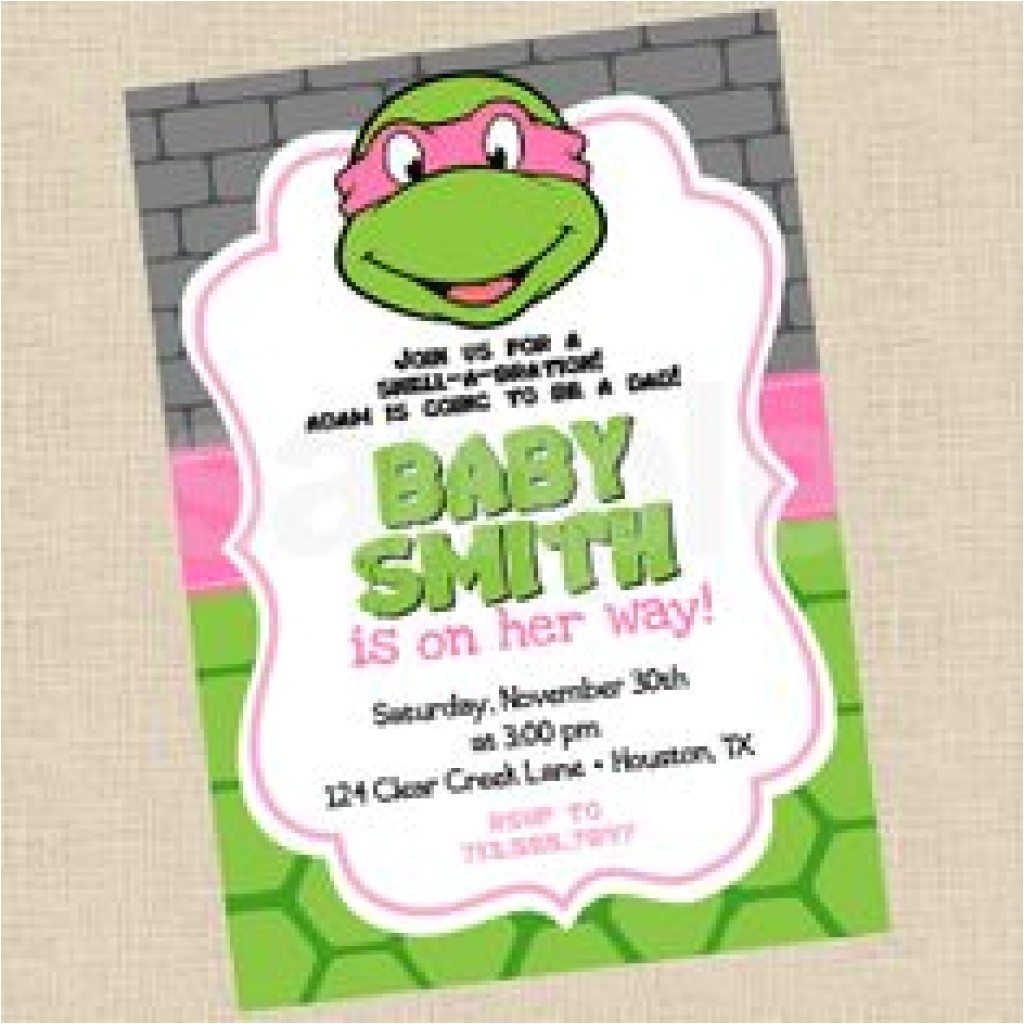 baby shower invitation cute baby ninja turtle baby show