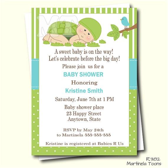 green turtle baby shower invitation turtle