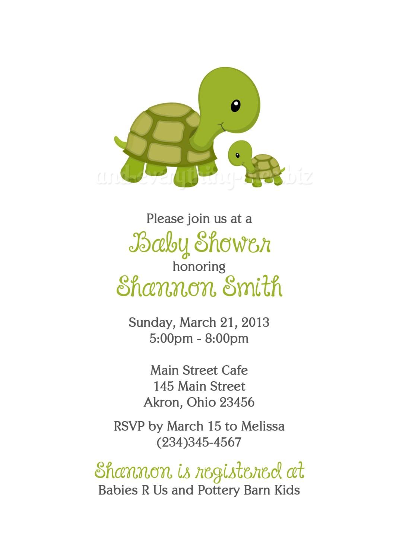 Baby Shower Invitations Turtle theme Turtle Baby Shower Birthday Invitations Custom Design