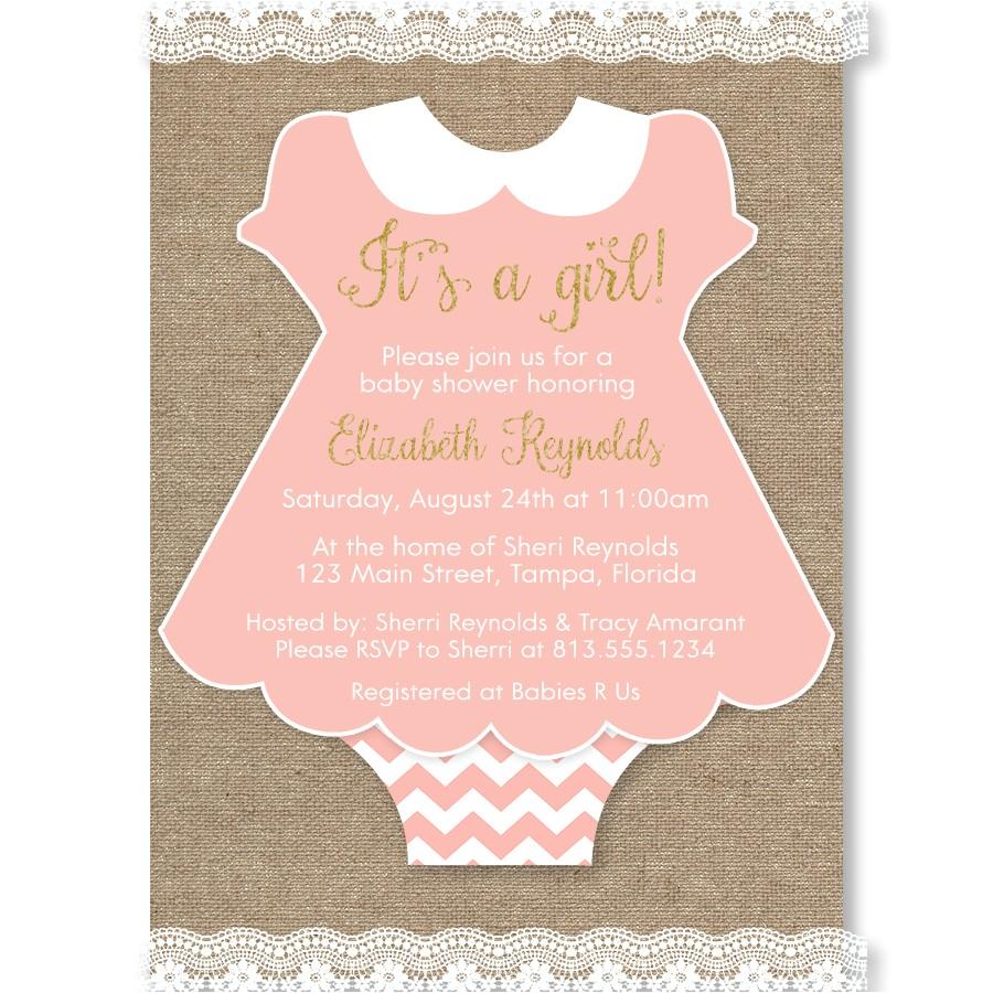 princess onesie baby shower invitation