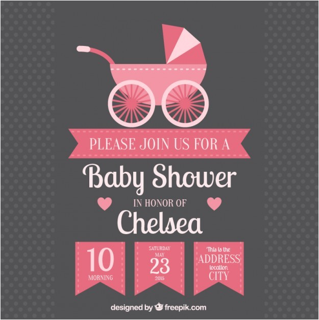 Baby Shower Invitations Vector Baby Shower Invitation with Baby Buggy Vector