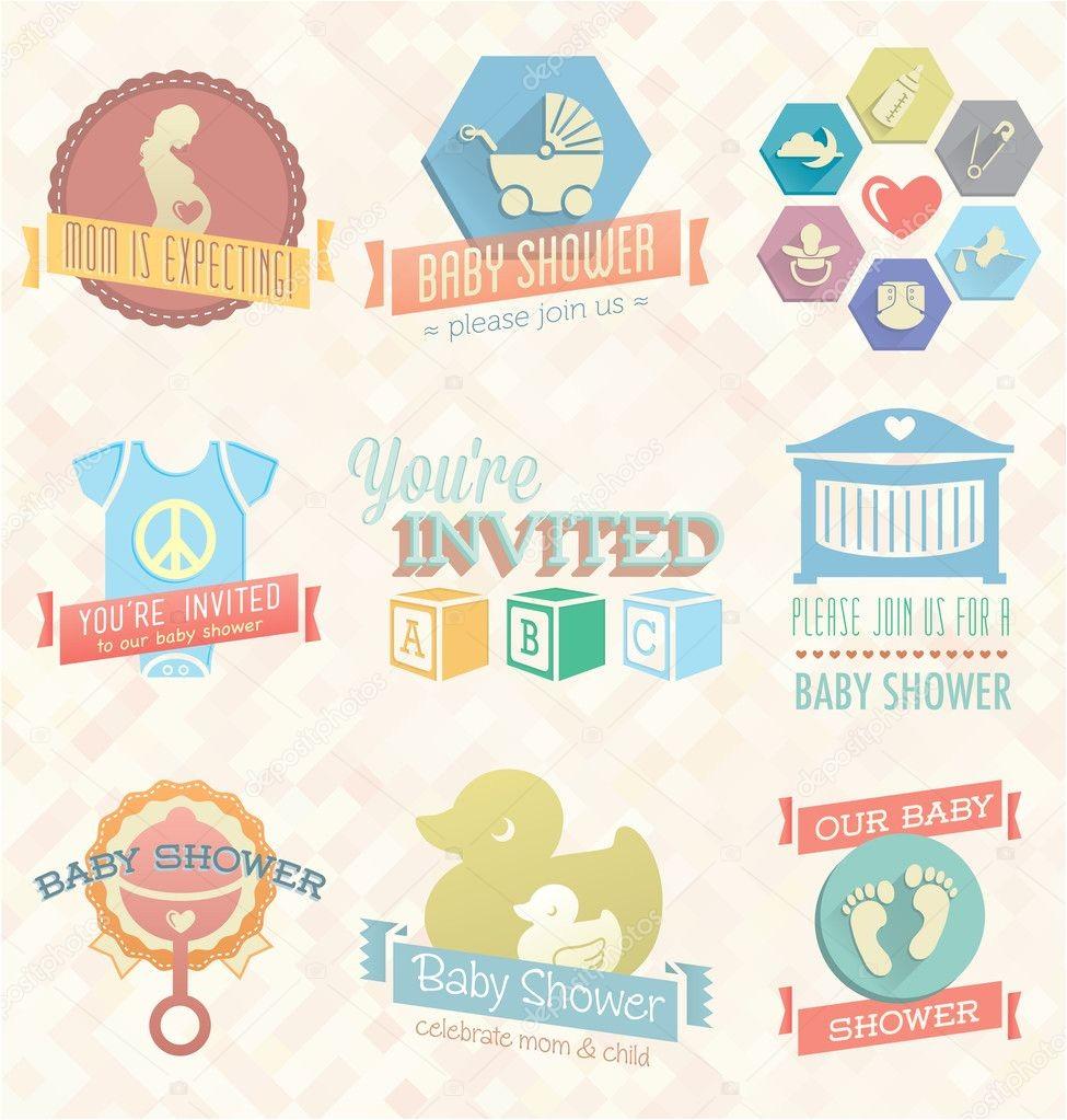 stock illustration vector set baby shower invitation