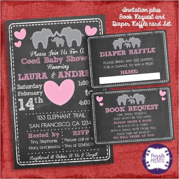elephant baby shower invitation coed couples