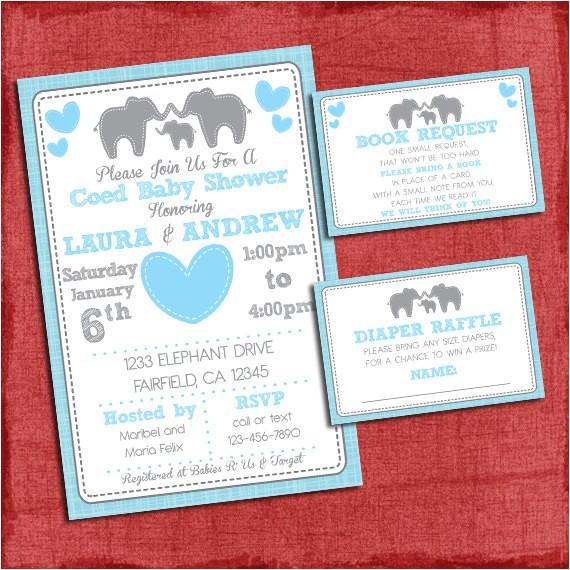 elephant baby shower invitation theme coed 2