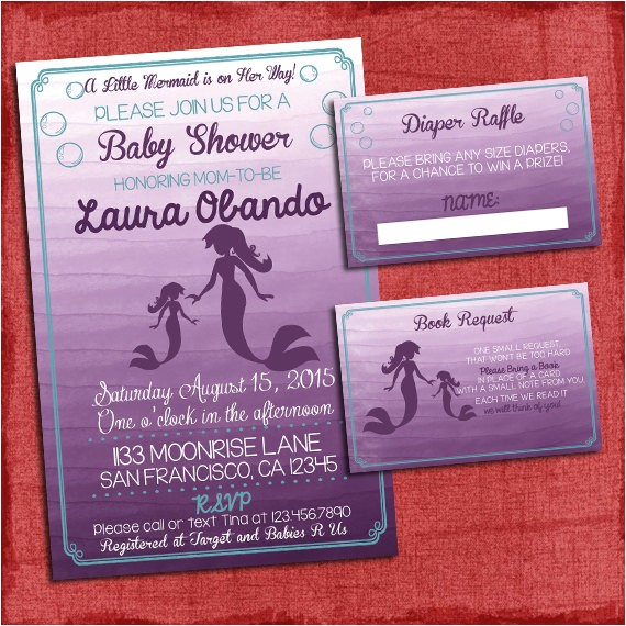 Baby Shower Invitations with Diaper Raffle and Book Request Mermaid Baby Shower Invitation Set Invite Diaper Raffle