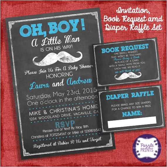 mustache baby shower invitation invite diaper