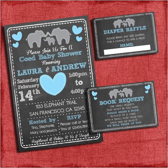 printable elephant theme coed couples baby 2