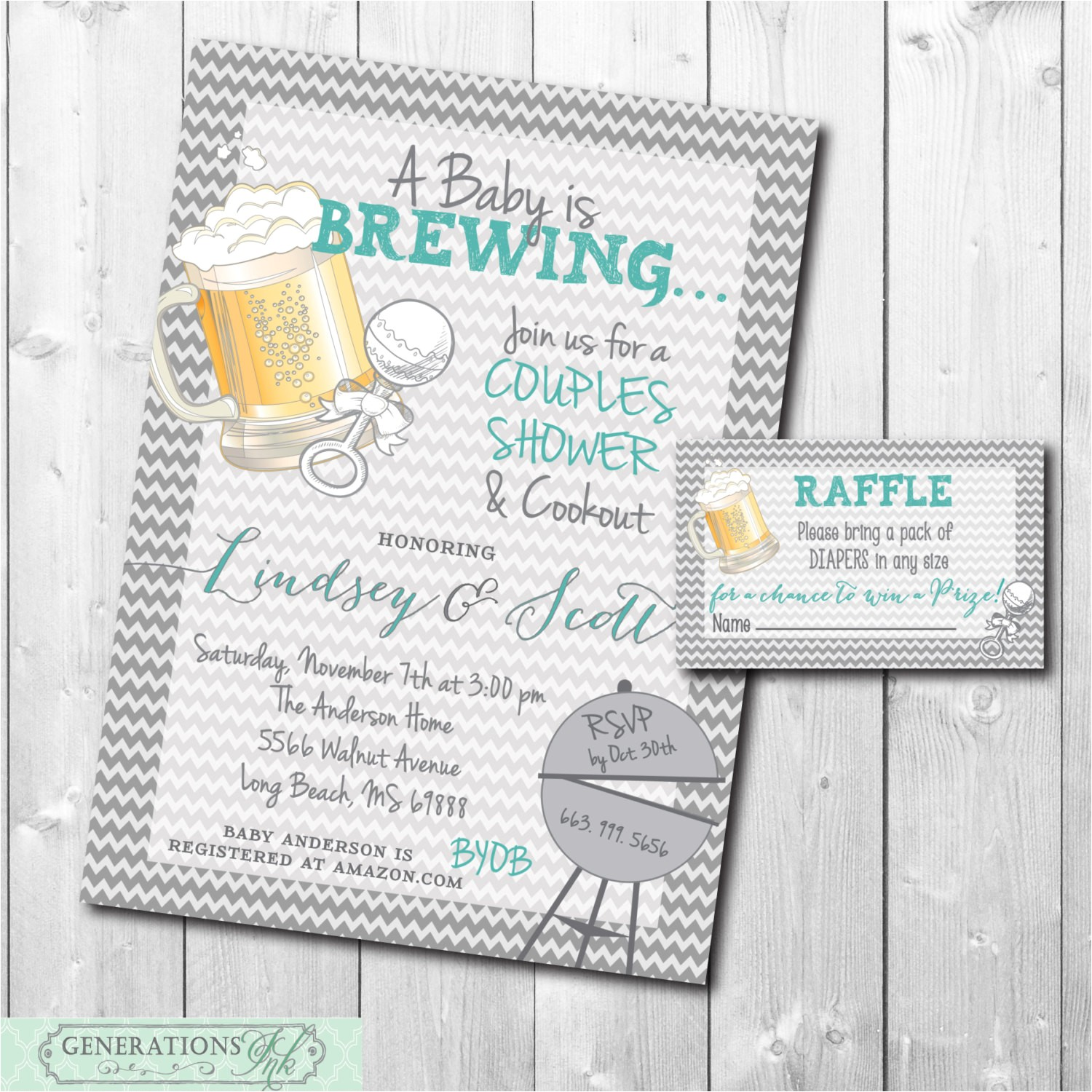 couples baby shower invitation and