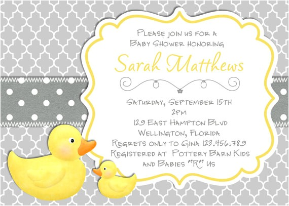 rubber ducky baby shower invitations template design ideas