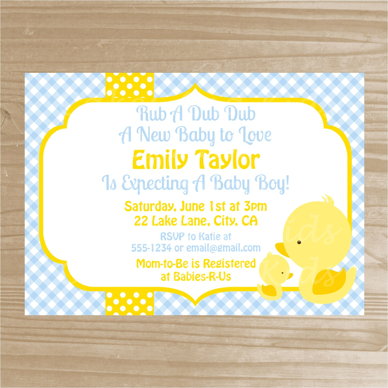 yellow duck baby shower invitation baby