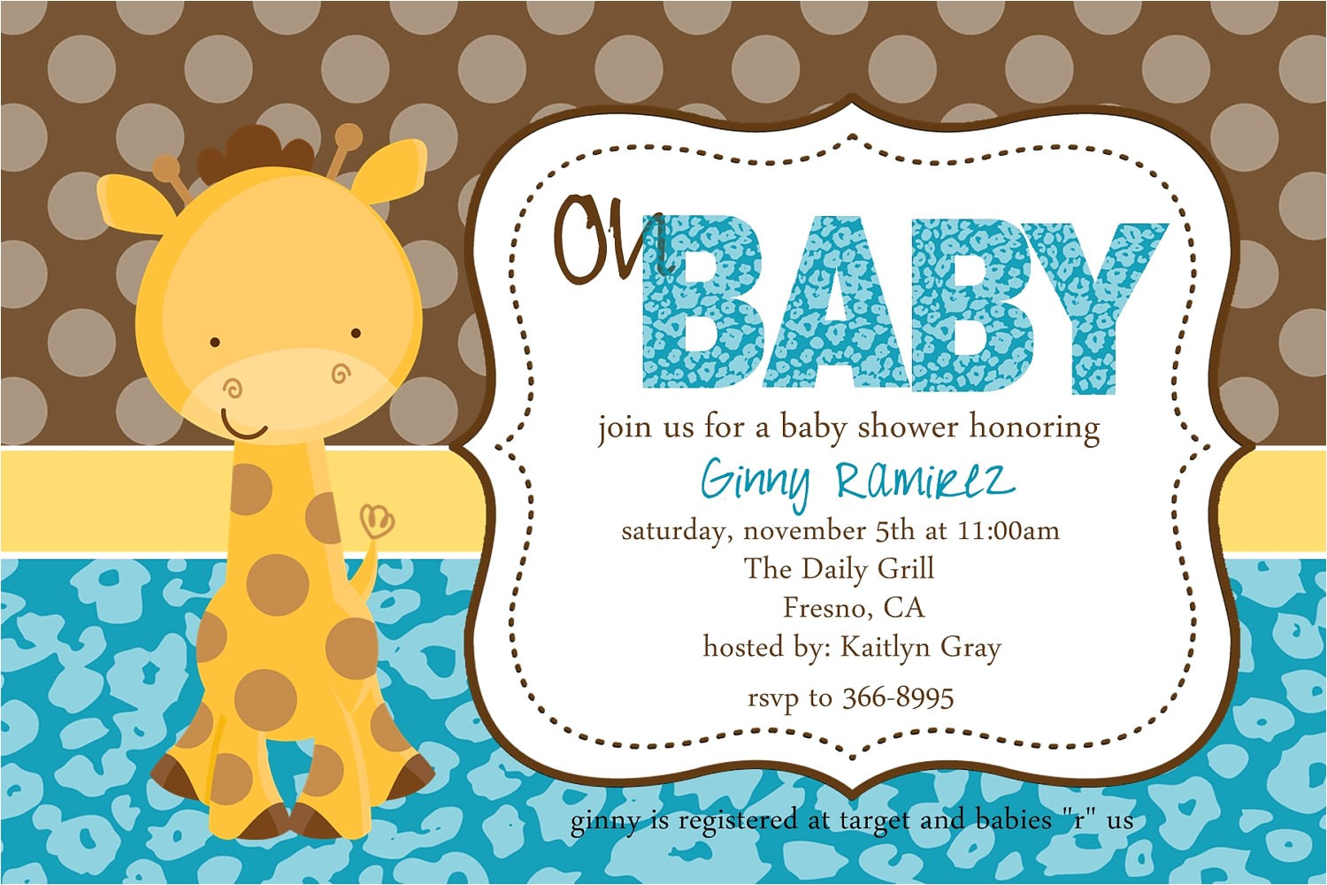 baby giraffe baby shower invitation