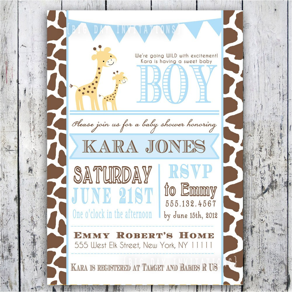 giraffe baby shower invitation baby