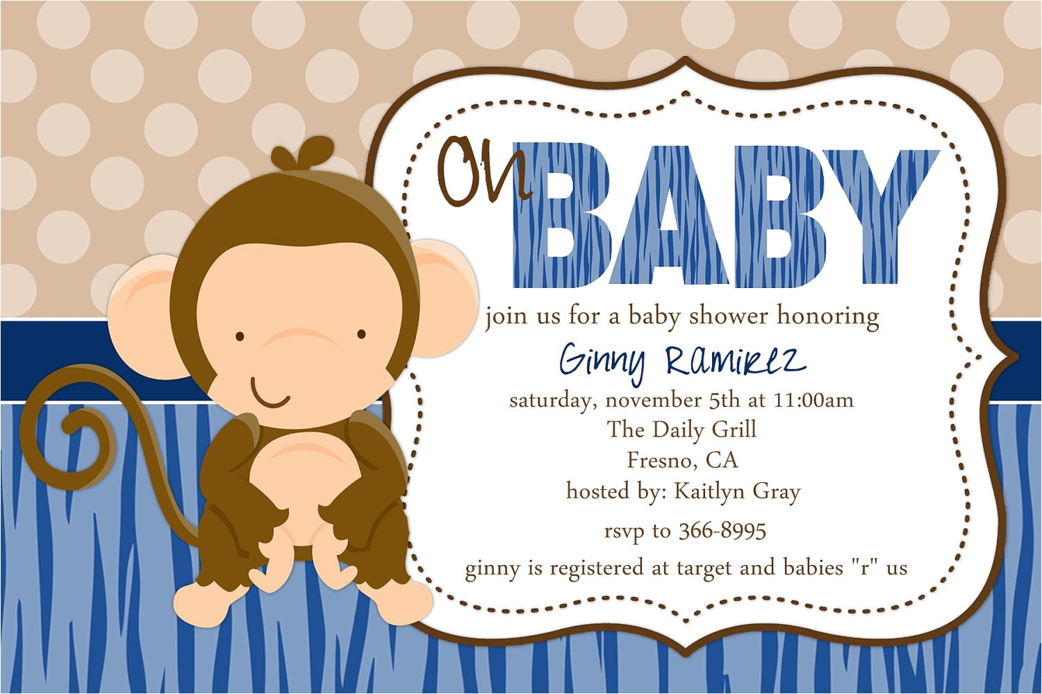 baby monkey baby shower invitation
