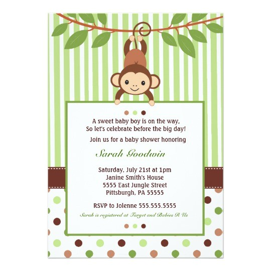 mod monkey baby shower invitation