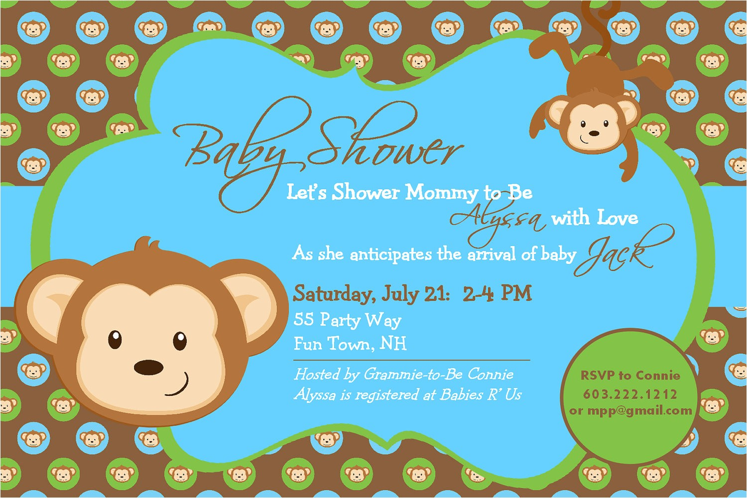 baby shower invitation monkey printable