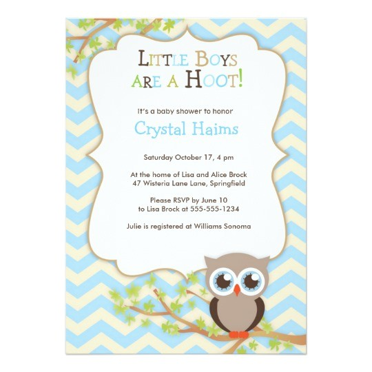 chevron owl themed baby shower invitations boy