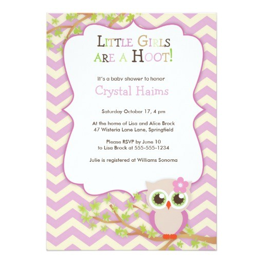 chevron owl themed baby shower invitations girl