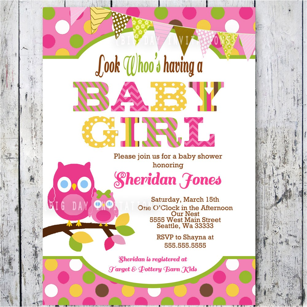 owl baby shower invitations baby shower