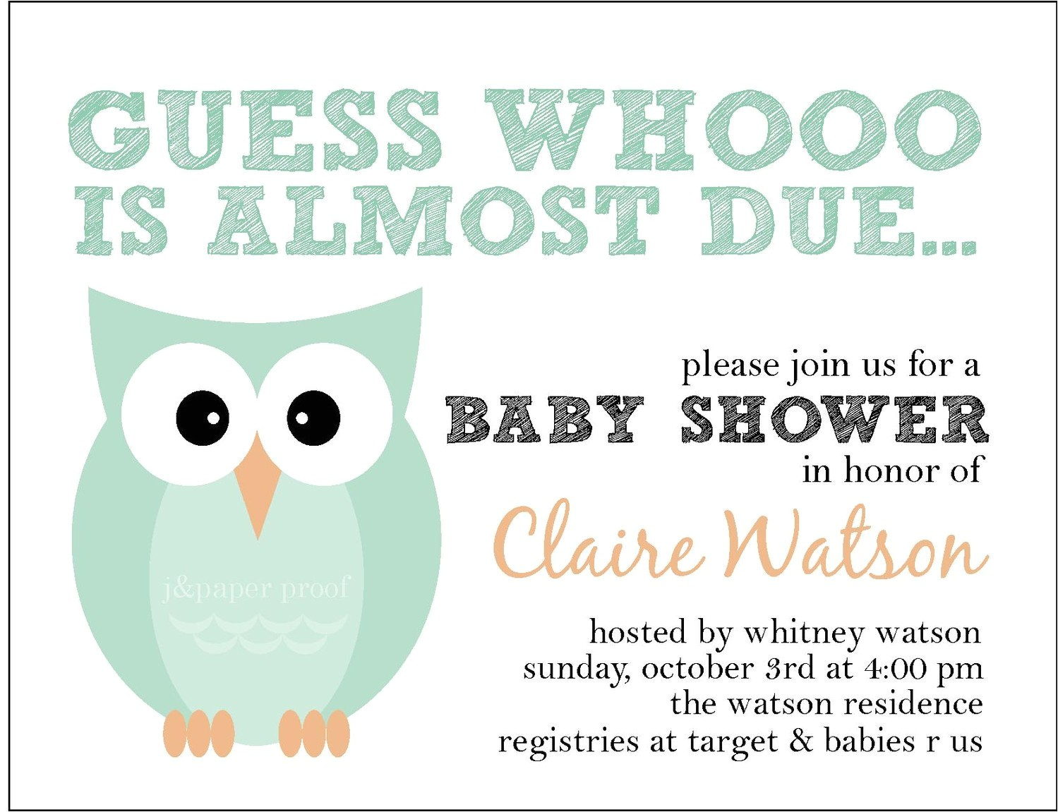 owl themed baby shower invitation whoo