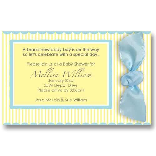 baby stripes ribbon baby shower invitations slis0015
