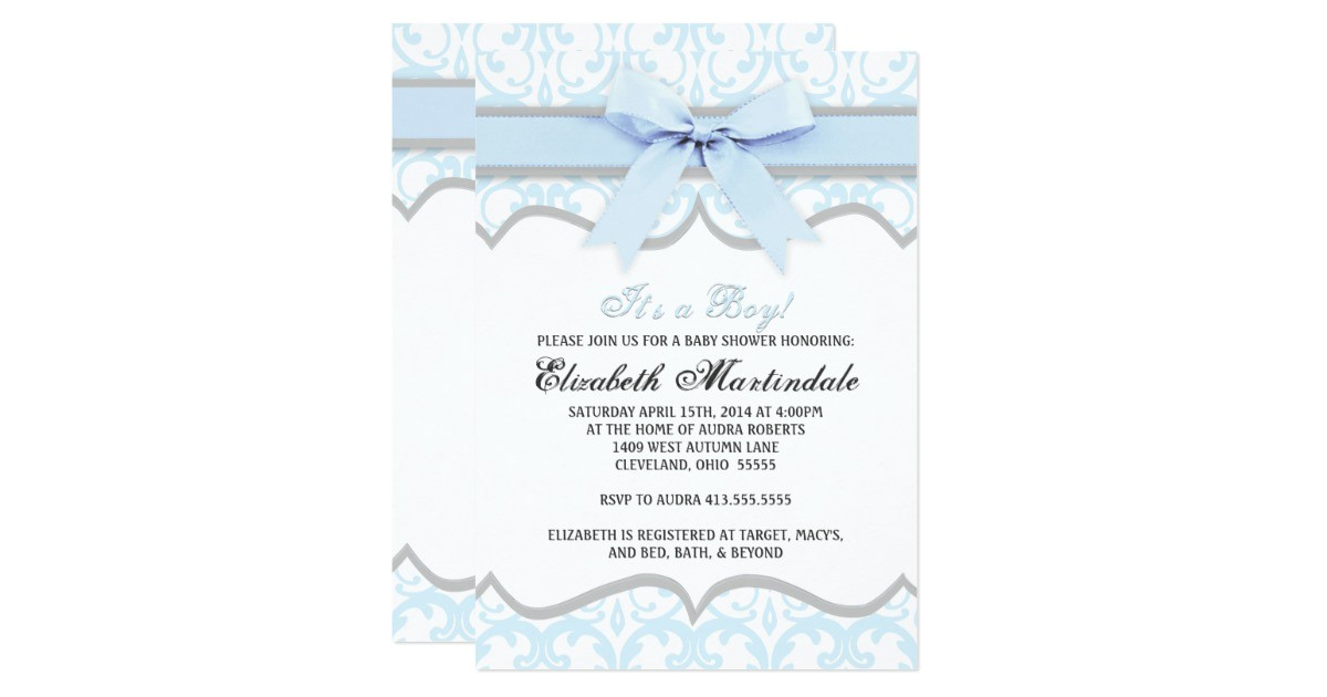 damask heart blue ribbon baby shower invitation