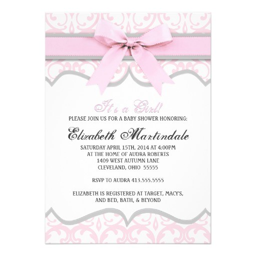 damask heart pink ribbon baby shower invitation