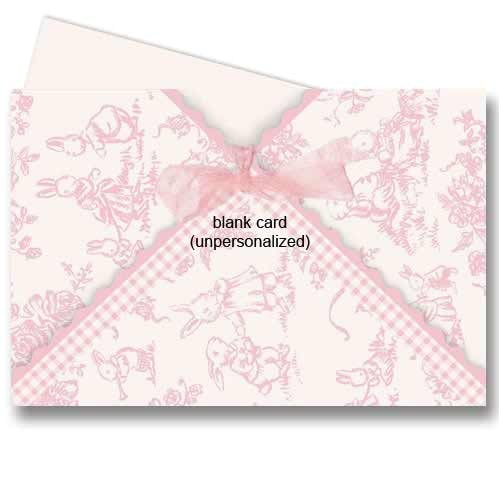 Baby Shower Invitations with Ribbon Pink Bunny toile Ribbon Baby Shower Invitations
