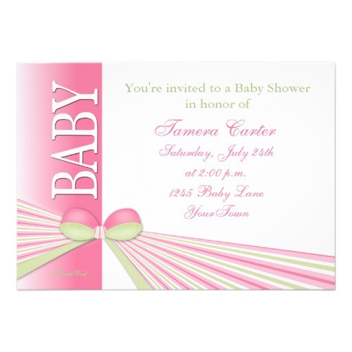 ribbon stripes baby shower invitation with bow