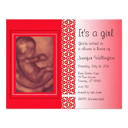 baby shower invitation red ultrasound