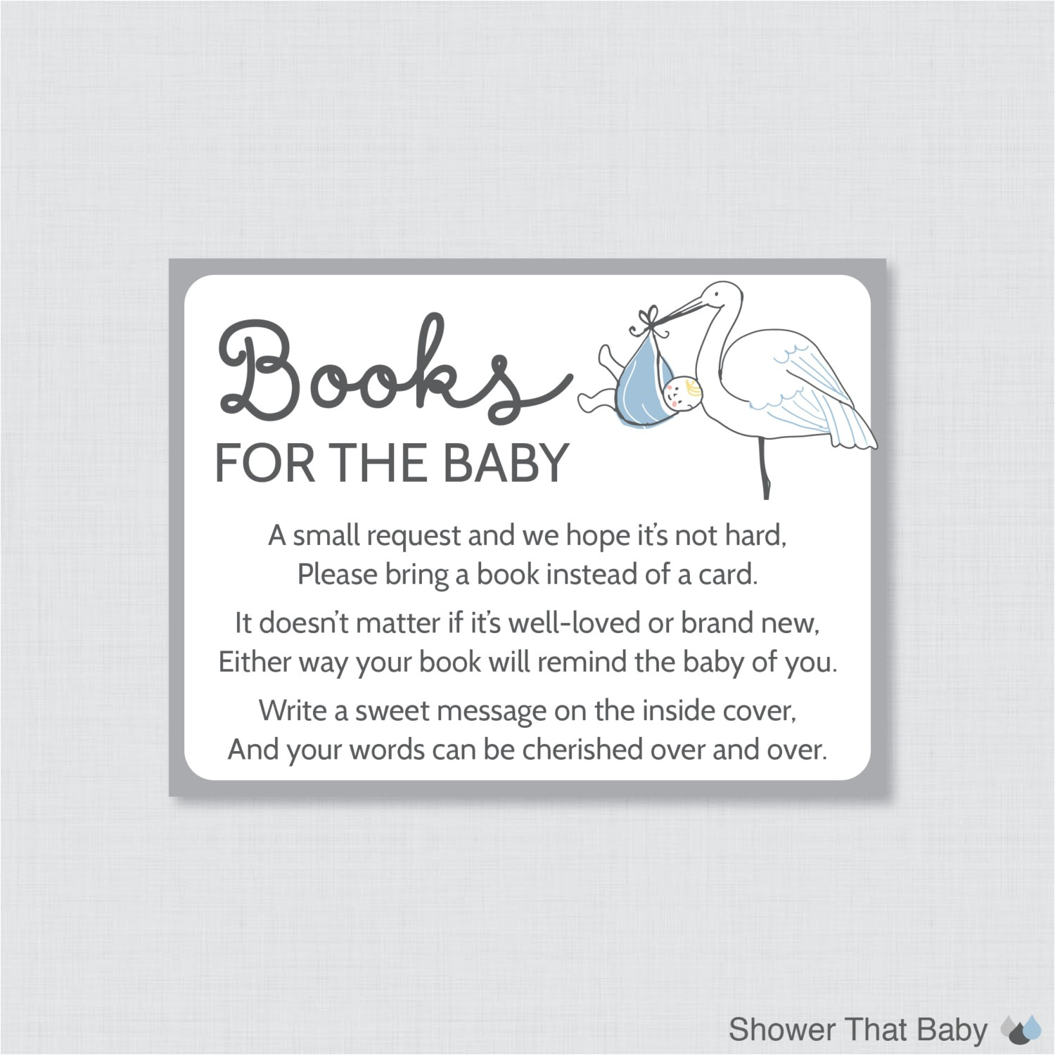 stork baby shower bring a book instead