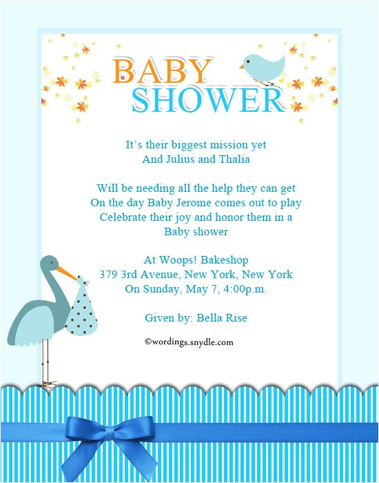 baby shower party invitation wording